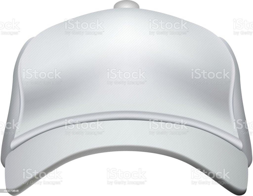 White Baseball Cap Isolated on White Background Vector vector art illustration