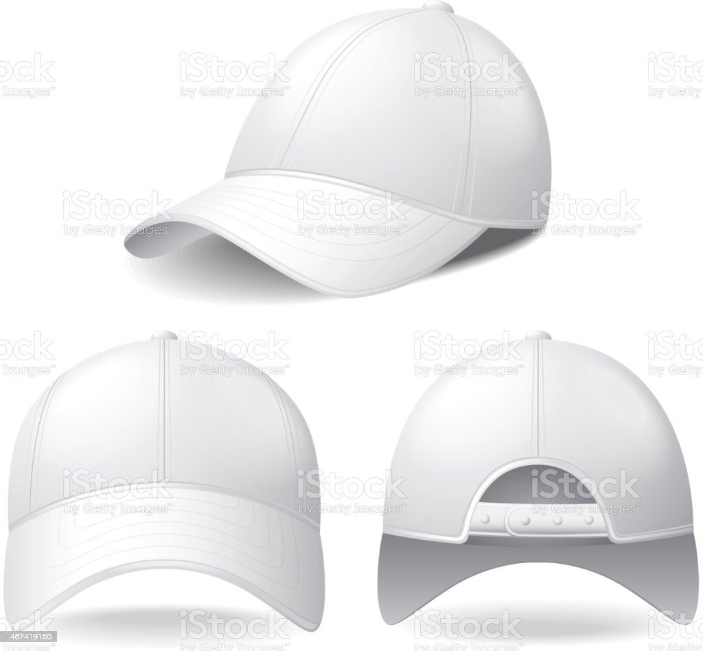 White baseball cap isolated on white vector vector art illustration
