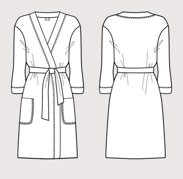 White Bathrobe For Women Front And Back Views Vector Art Illustration