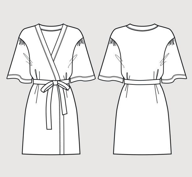 b1fc282658 White bathrobe for women. Front and back views. vector art illustration
