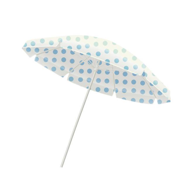 illustrazioni stock, clip art, cartoni animati e icone di tendenza di white beach umbrella with blue polka dots - mockup outdoor rain