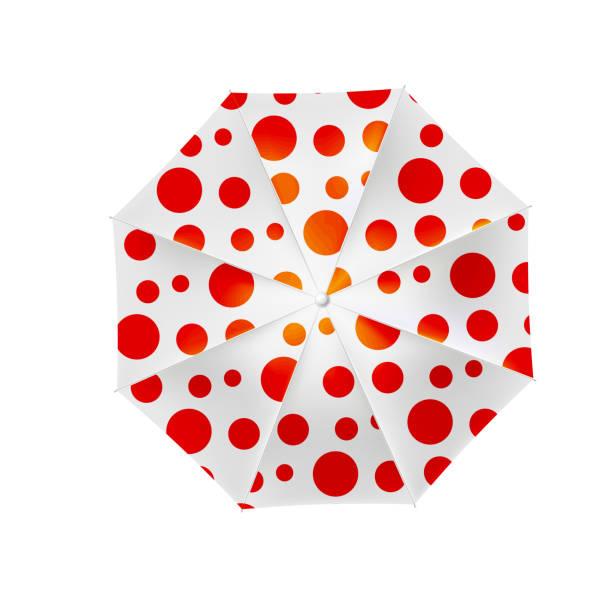 illustrazioni stock, clip art, cartoni animati e icone di tendenza di white beach umbrella with red polka dots - mockup outdoor rain