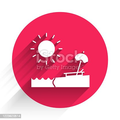 istock White Beach with umbrella and chair icon isolated with long shadow. Tropical beach landscape. Good sunny day. Red circle button. Vector Illustration 1223620514