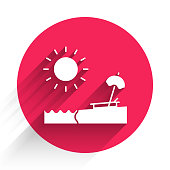 White Beach with umbrella and chair icon isolated with long shadow. Tropical beach landscape. Good sunny day. Red circle button. Vector Illustration