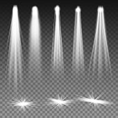 White Beam Lights Spotlights Vector. Glowing Light Effects Isolated On Transparent Background.