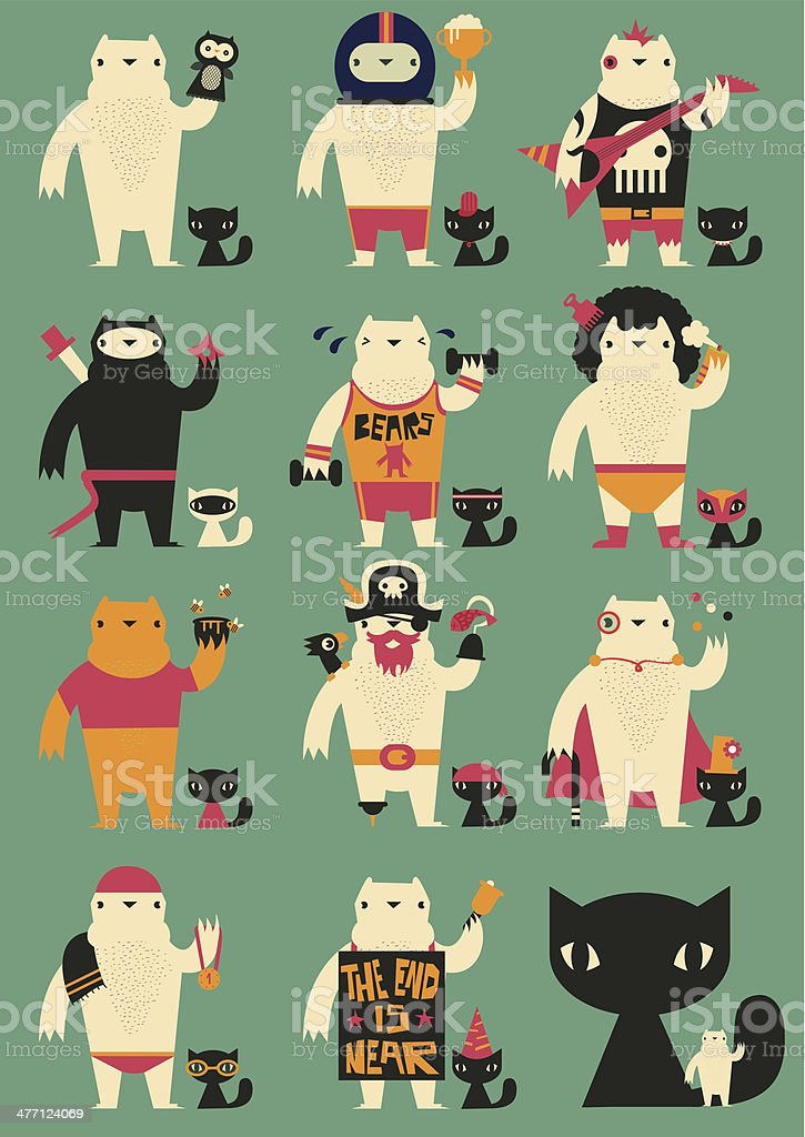 White bear and a cat try different outfits vector art illustration