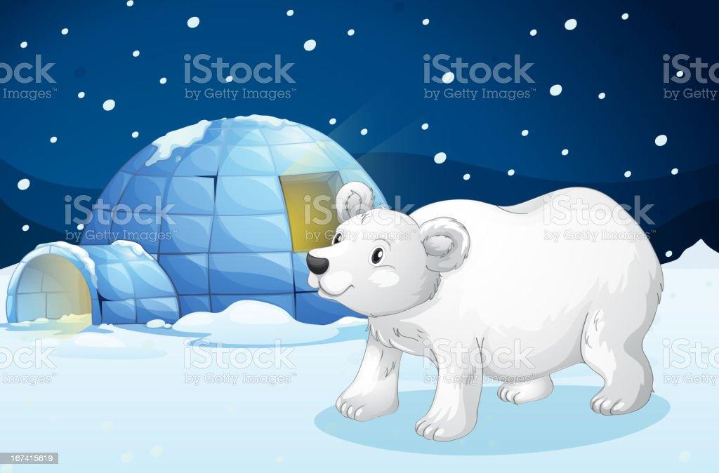 White bear and igloo royalty-free stock vector art