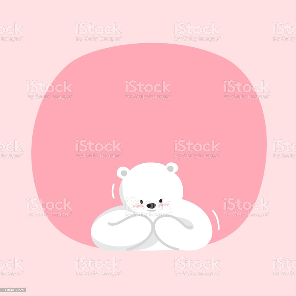 White Bear Cartoon Character Cute On Pink Pastel Color Background
