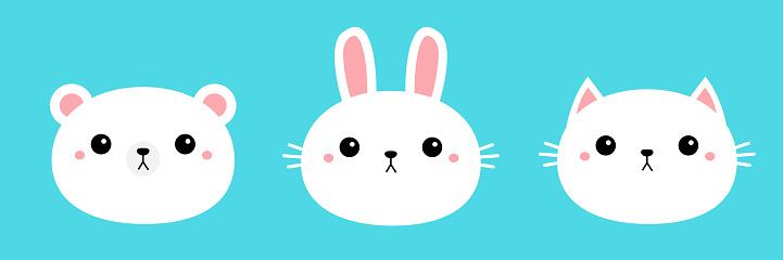 White bear cub rabbit, bunny, cat kitty, kitten round face head icon set. Cartoon funny baby character. Cute kawaii animal. Kids print for poster, t-shirt cloth. Flat design. Blue background.