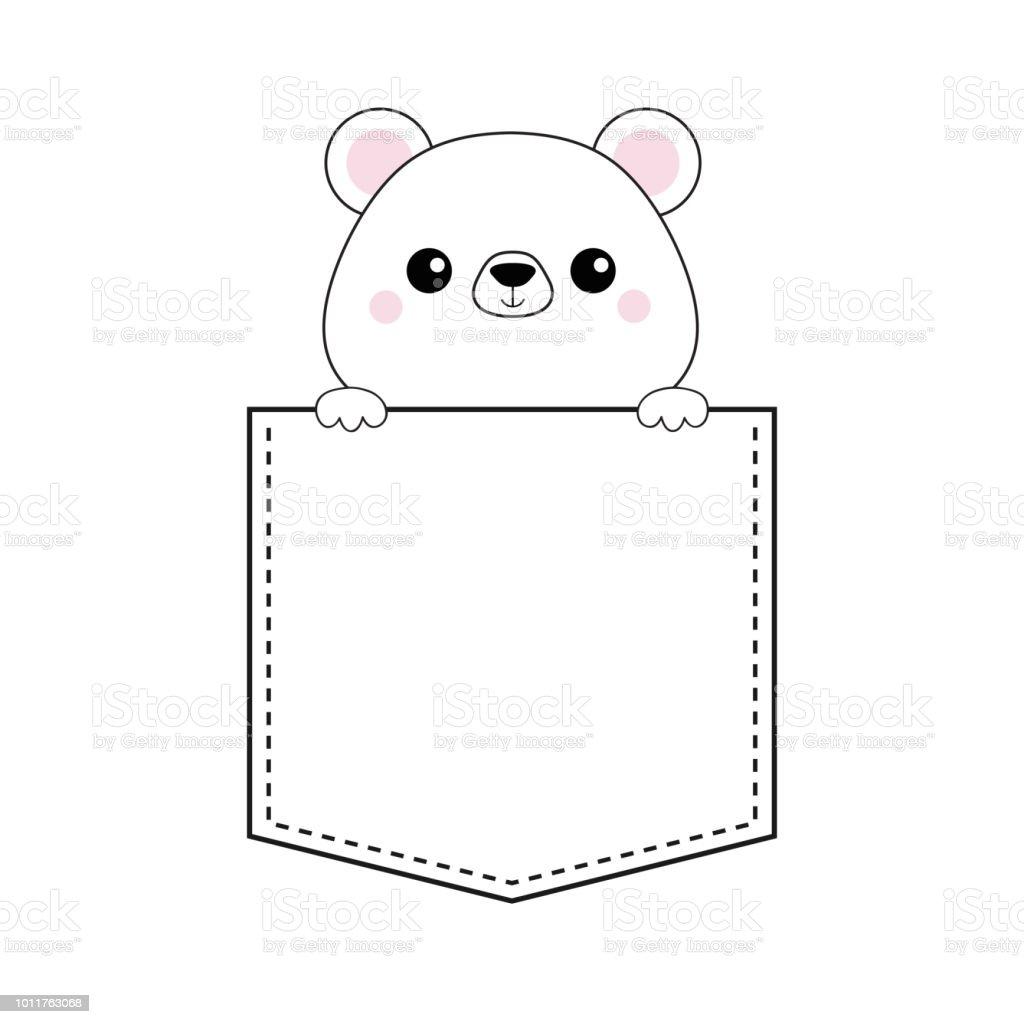 Ours blanc tête de face dans la poche. Joues roses. Maintenant les mains de 4c0879b0e98