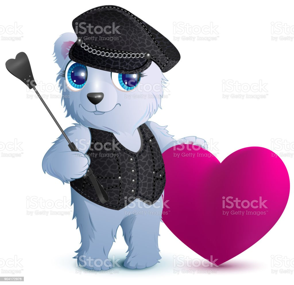 White bear in black leather clothes in style of bdsm vector art illustration