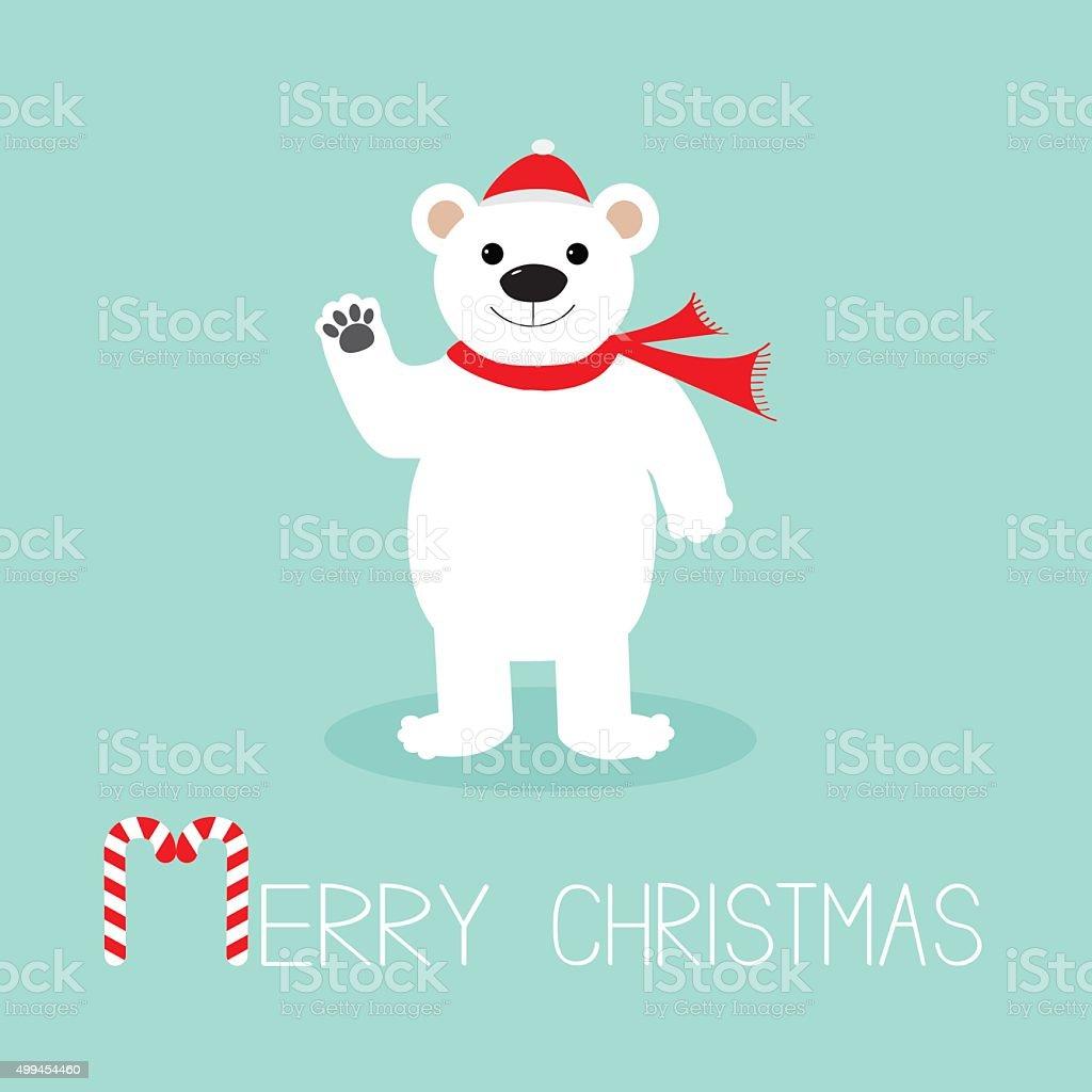 Babbo Natale Zampa.Orso Bianco In Cappello Qua La Zampa Bastoncino Di Zucchero Piatto