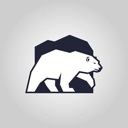 White bear. Polar bear silhouette outline icon