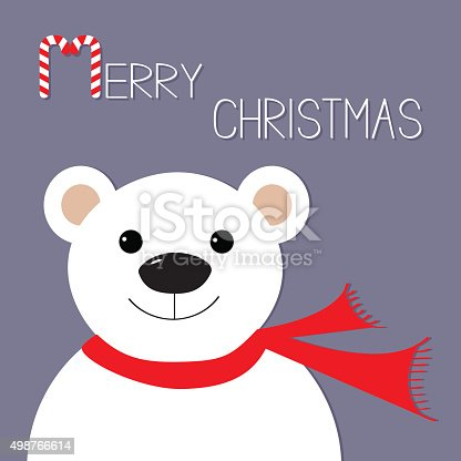 White polar bear in red scarf. Candy cane. Merry Christmas Greeting Card. Violet background. Flat design Vector illustration
