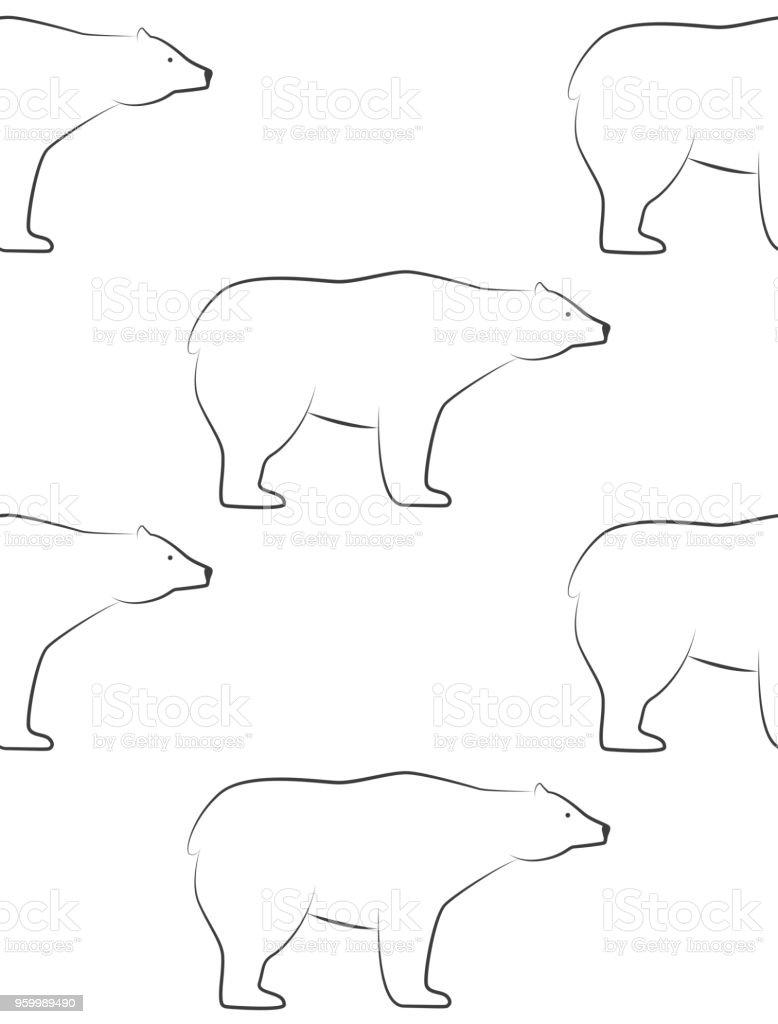 Ilustración de Patrones De Osos De Blanco De Patrones Sin Fisuras En ...