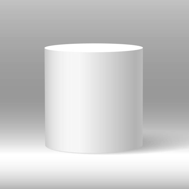 White beautiful realistic 3d cylinder vector on shaded background. White beautiful realistic 3d cylinder vector on shaded background. cylinder stock illustrations