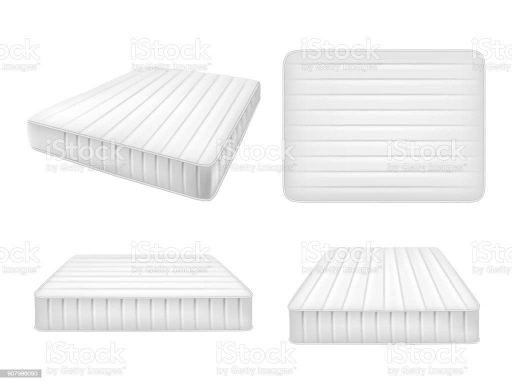 White bed mattresses set, vector realistic illustration vector art illustration