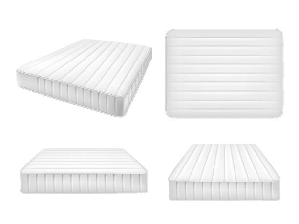 White bed mattresses set, vector realistic illustration White bed mattresses set. Vector realistic illustration of high quality comfortable double mattresses isolated on white background. bedroom silhouettes stock illustrations