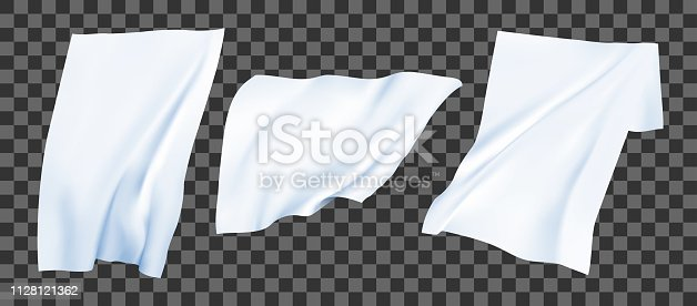 White bedsheets the wind. Realistic vector set