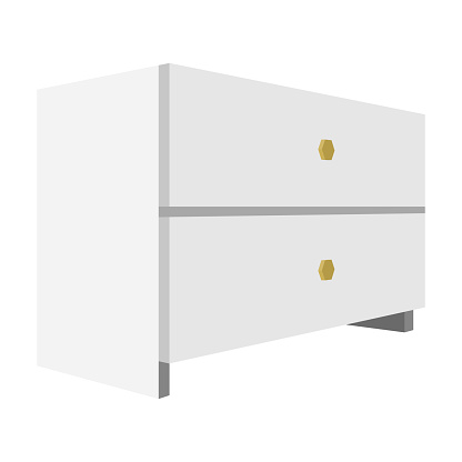 White bedside table with two drawers.Room accessories for all sorts of things.Bedroom furniture single icon in cartoon style vector symbol stock illustration.