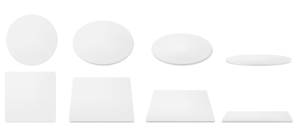 White beer coasters, mats for mug and cup