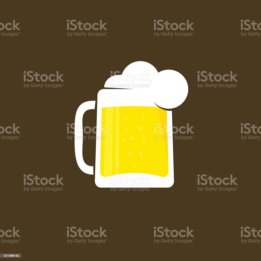 White beer glass with foam vector logo template vector art illustration
