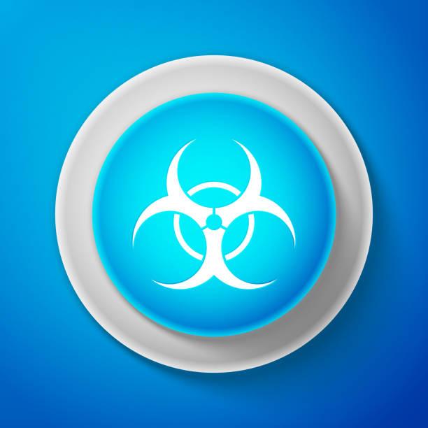 White Biohazard Symbol Icon Isolated On Blue Background Circle Blue