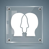 istock White Bipolar disorder icon isolated on grey background. Square glass panels. Vector 1271980240