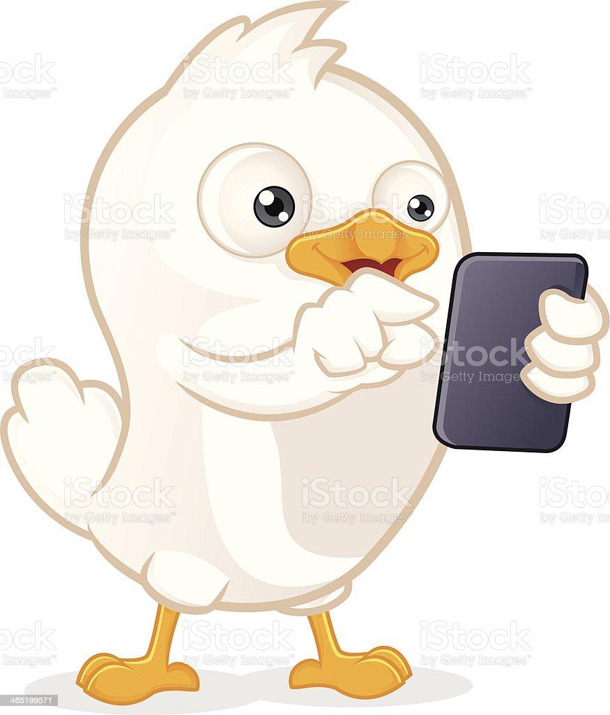 White Bird Holding Tablet PC royalty-free stock vector art