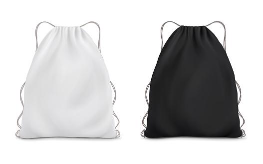 White black backpack bag on a rope. Sport bag mockup on white background.