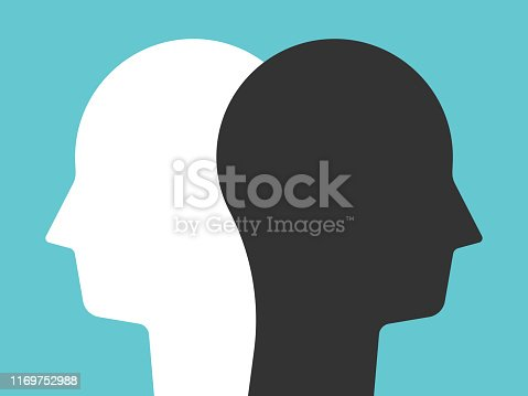 Two white and black head silhouettes on turquoise blue background. Psychology, diversity, tolerance and opposites concept. Flat design. EPS 8 vector illustration, no transparency, no gradients