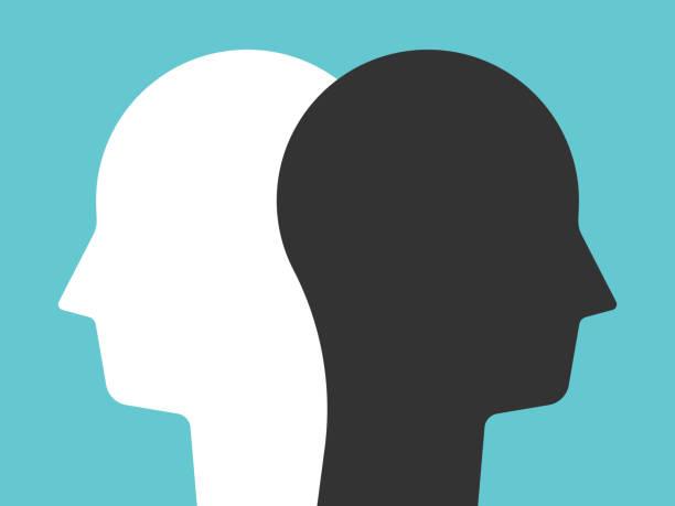 ilustrações, clipart, desenhos animados e ícones de silhuetas brancas, pretas da cabeça - dois objetos