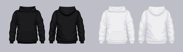 White black hoodie front back mockup. Fashionable template sweatshirt.