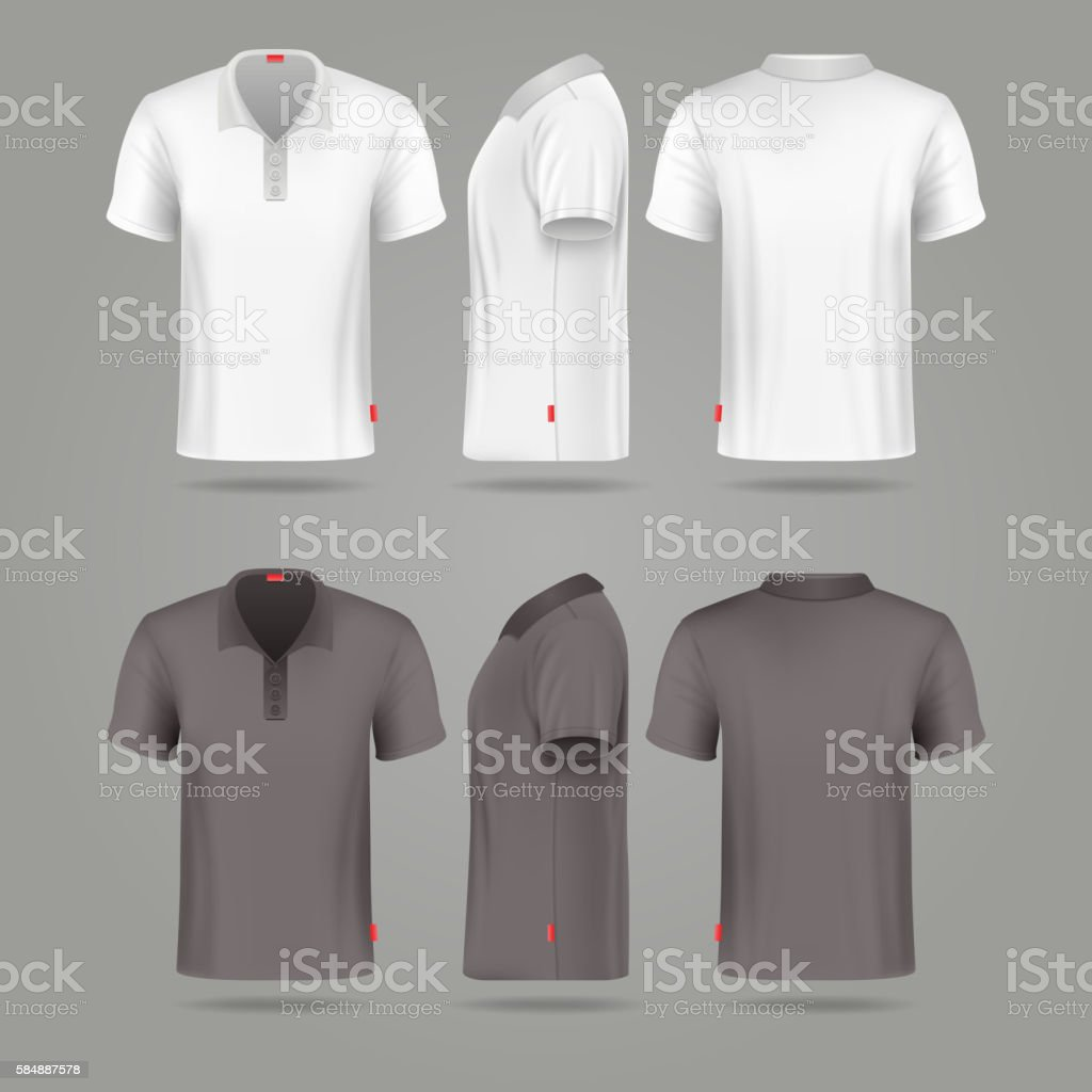 White black mens polo t-shirt front back and side vector art illustration