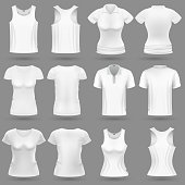 White blank 3d t-shirt vector templates for man and woman fashion design