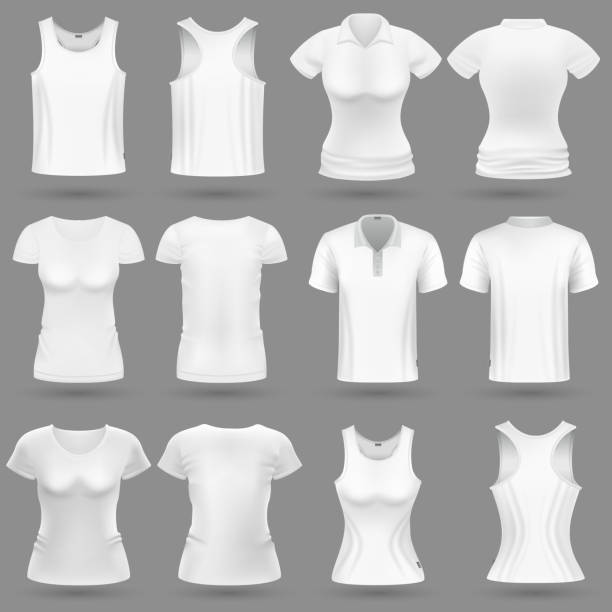 ilustrações de stock, clip art, desenhos animados e ícones de white blank 3d t-shirt vector templates for man and woman fashion design - teeshirt template