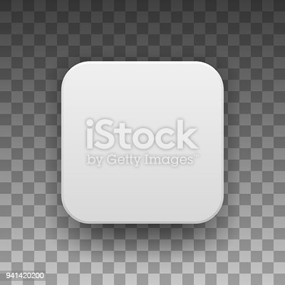 White abstract app icon, blank button template with realistic shadow and transparent background for design concepts, web sites, user interfaces, UI, applications, apps, mock-ups. Vector illustration.