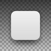 White Blank App Icon Button Template