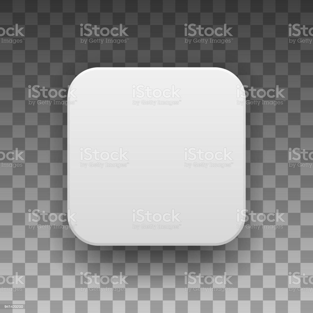 White Blank App Icon Button Template vector art illustration