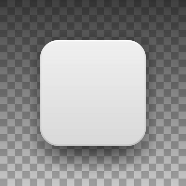 ilustrações, clipart, desenhos animados e ícones de modelo de botão de ícone de app em branco branco - app