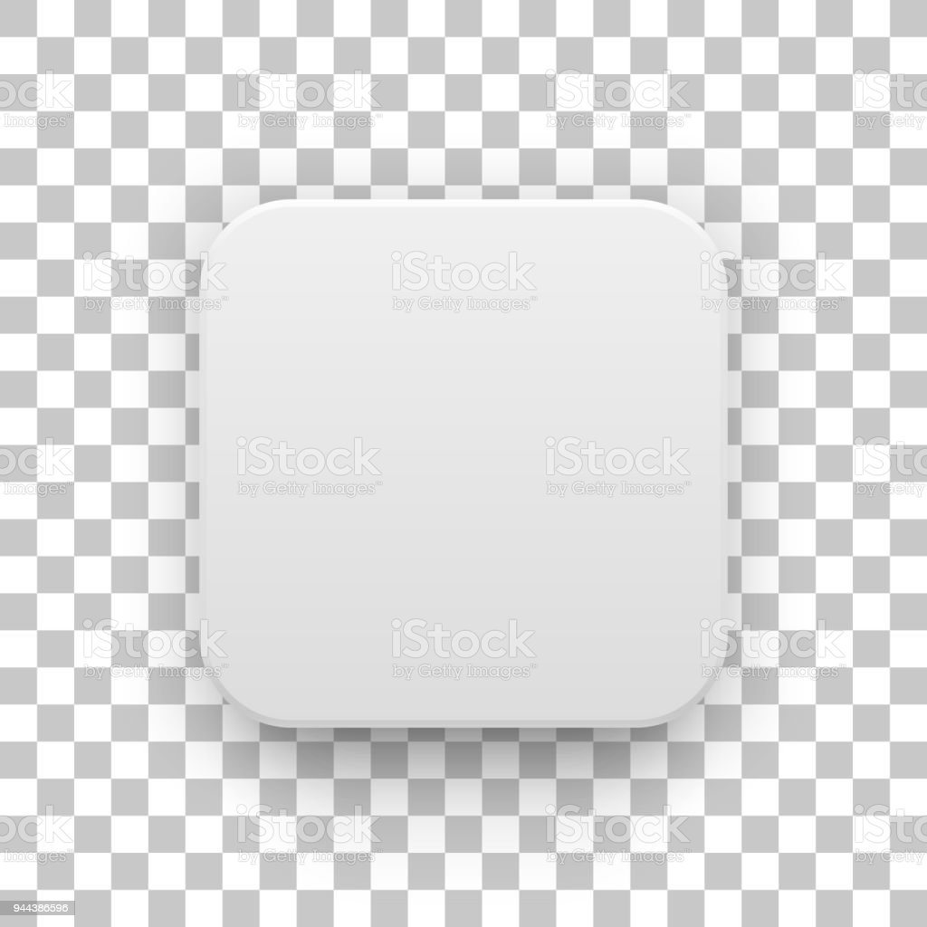 White Blank App Icon Button Template Stock Illustration