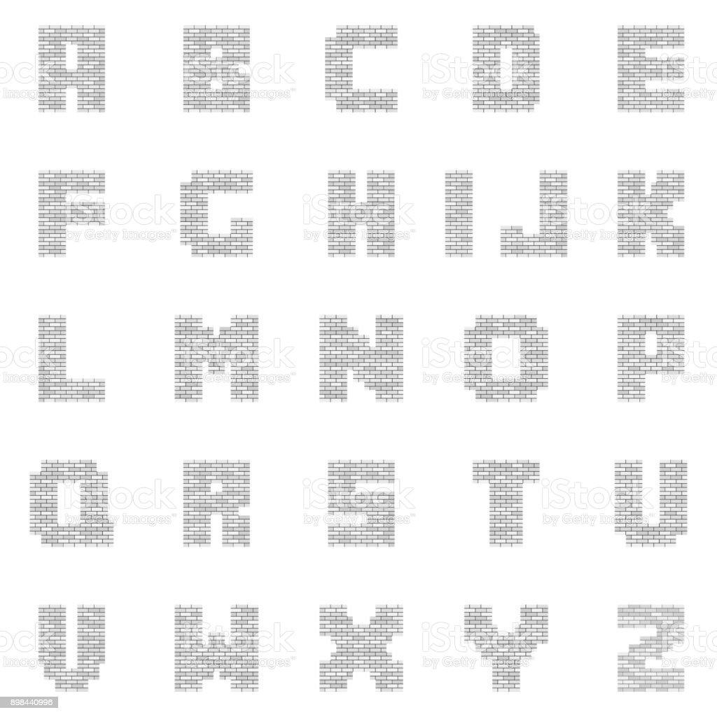 White Blank Brick Letters vector art illustration