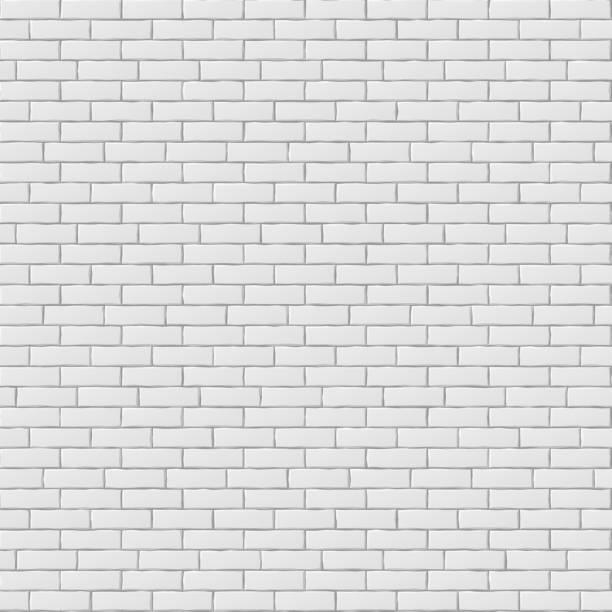 White blank brick wall seamless pattern texture - Illustration vectorielle