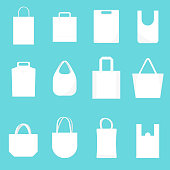 White Blank Canvas Bags Empty Template Mockup Different Types Set for Retail Shop. Vector illustration of Bag