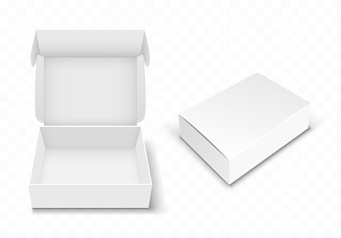 White blank cardboard box with flip top, realistic