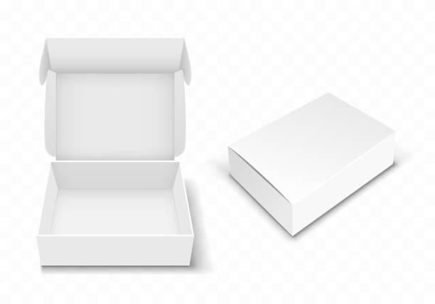 weißer leerer karton mit flip-top, realistisch - offen allgemeine beschaffenheit stock-grafiken, -clipart, -cartoons und -symbole