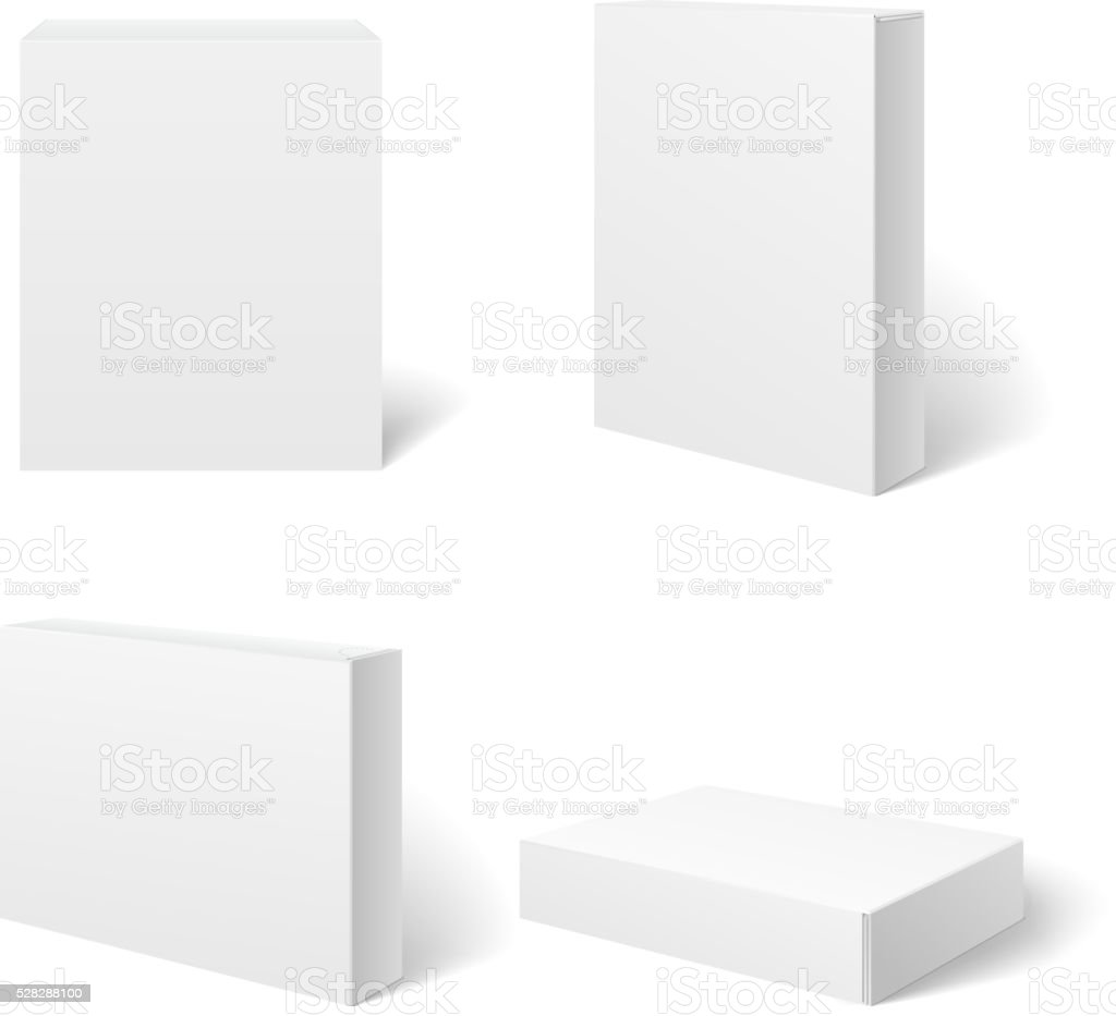 White blank cardboard package box in different positions. Vector template vector art illustration