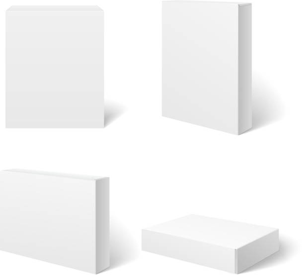 white blank cardboard package box in different positions. vector template - boxes stock illustrations, clip art, cartoons, & icons