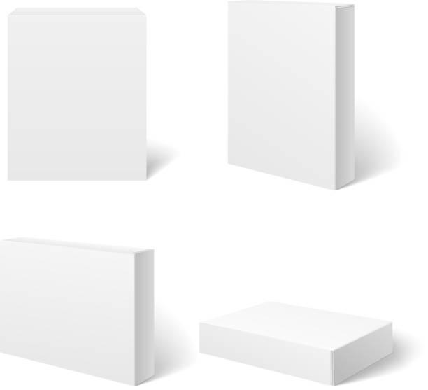 białe puste opakowanie kartonowe pudełko w różnych miejscach. wektor wzór - karton zbiornik stock illustrations