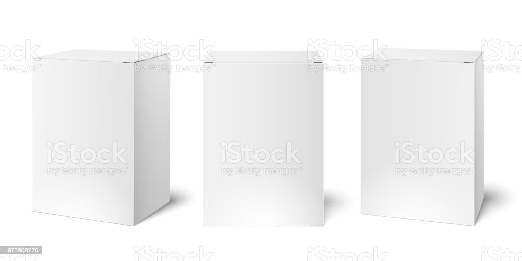 White blank cardboard package boxes mockup. Medicament 3d realistic box packaging vector illustration template